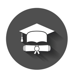 Graduation cap and diploma scroll icon in flat vector
