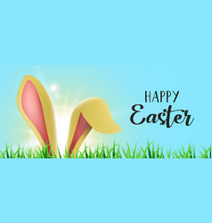 Happy easter web banner with funny bunny ears vector