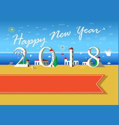 Happy new year 2018 summer beach vector