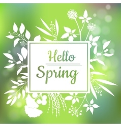 Hello Spring green card design with a textured vector image