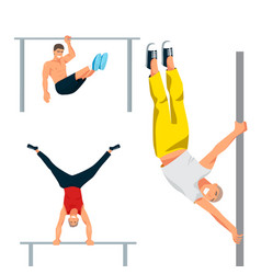 Horizontal bar chin-up strong athlete man gym vector