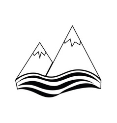 icon of snow peaks cliff on sea vector image