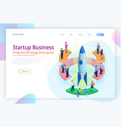 Isometric businnes start up for web page banner vector