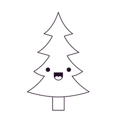 kawaii christmas tree with trunk with happiness vector image