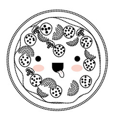 kawaii pizza in black dotted silhouette vector image