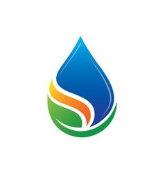 leaf waterdrop eco logo vector image