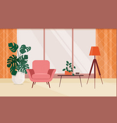 living room interior with furniture and vector image