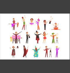 Magician in the circus show magic tricks magic vector