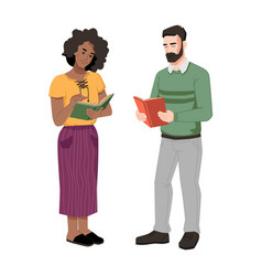 man and woman reading book and chatting together vector image