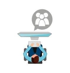 man working computer gro media design vector image