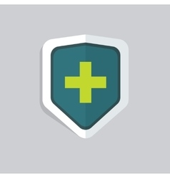 Medical shield icon isolated green cross vector image