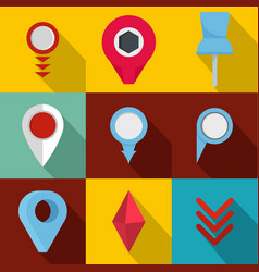 meeting point icons set flat style vector image