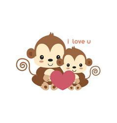 Mom and bamonkey cartoon vector