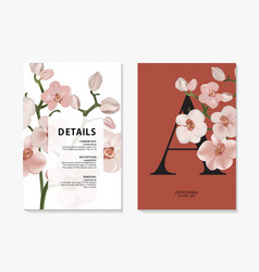 orchid watercolor branch design invitation card vector image