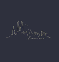 Pen line silhouette barcelona dark blue vector