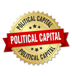 Political capital round isolated gold badge vector