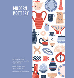 Poster modern pottery ceramic studio vector