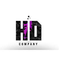 Purple black alphabet letter hd h d logo vector