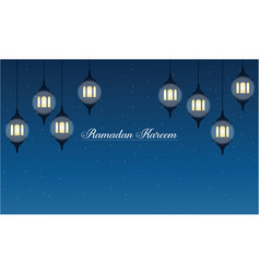 Ramadan kareem with lantern banner collection vector