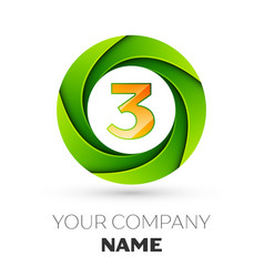 Realistic number three logo in the colorful circle vector