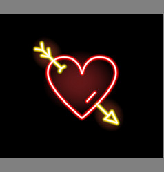 red heart stricken arrow neon symbol vector image