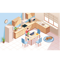 remote worker at kitchen doing work man child vector image
