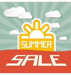 Retro Summer Sale Paper Title on Landscape vector image