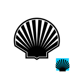 sea shell black silhouette sign scallop logo vector image