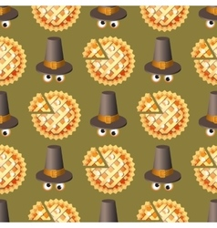 Seamless Thanksgiving day pattern with pumpkin pie vector