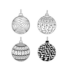 set of hand drawn christmas ball toy vector image