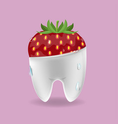 strawberry tooth mixed dental symbol vector image