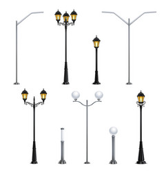 Street lights realistic icon set vector