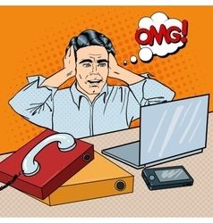 Stressed Businessman on the Office Pop Art vector image
