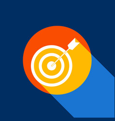 target with dart white icon on tangelo vector image
