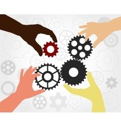 Teamwork gears vector image