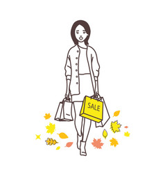 the lady with shopping bags vector image