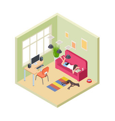 Time relax girl relaxing couch reading book vector