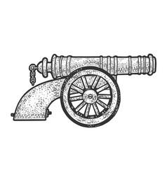 Vintage old cannon sketch vector