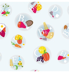 Vitamins and healthy eating symbols seamless vector image