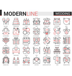 wedding complex red black line icon vector image