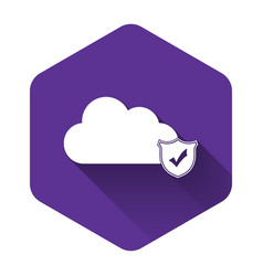 white cloud and shield with check mark icon vector image
