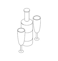 Wine bottle and two glasses icon vector image