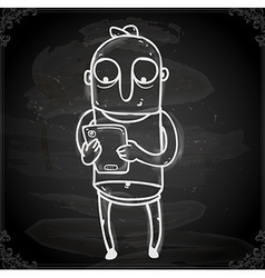 Working Man Drawing on Chalk Board vector image