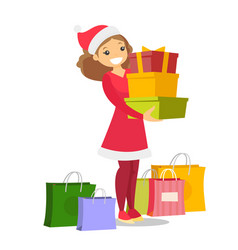 Young woman in santa hat buying christmas gifts vector
