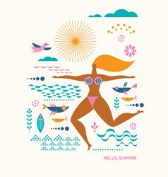 young woman in swimming suit vector image