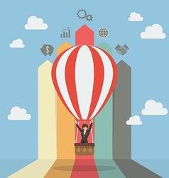 Business woman on hot air balloon with arrow bar vector image vector image