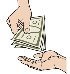 hands giving and receiving money vector image