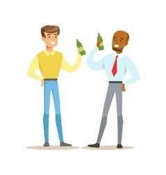 Happy Best Friends Having A Beer After Work Part vector image