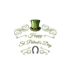 st patricks day leprechaun hat horseshoe swirls vector image