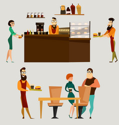burger bar or fast food restaurant icon set vector image